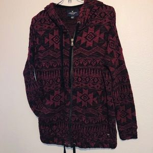 Unisex Burgundy American eagle zip up